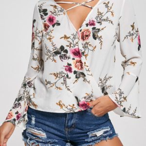 Fashion Fall Spring Printed Floral Womens Blouse