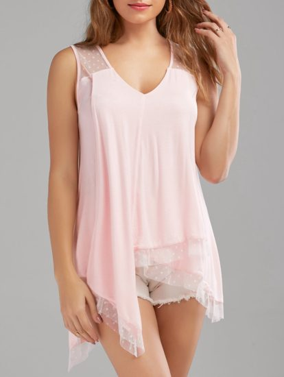 Pink Casual Party Sleeveless Summer Womens Blouse