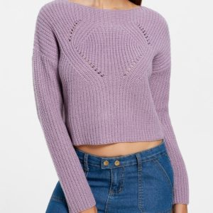 Casual Fall Spring Solid Trendy Pink Womens Sweater