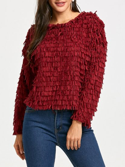 Fall Winter Solid Red Womens Fringed Sweatshirt