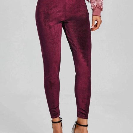 Red Fashion Cotton Elastic Waist Ladies Pencil Pants