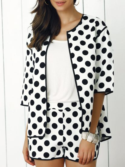 Trendy Polka Dot Coat and Shorts for Women
