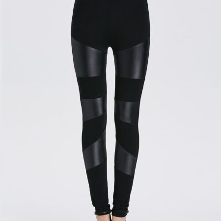 Black Pu Leather Trendy Womens Bodycon Leggings