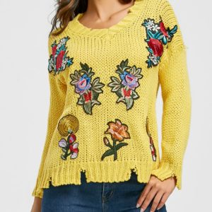 Fall Spring V-Neck Fashion Floral Yellow Womens Sweater