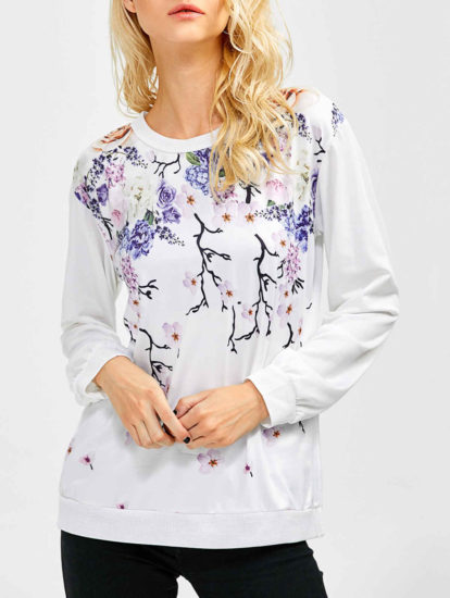 Fashion Floral Fall Spring White Printed Sweatshirt for Ladie