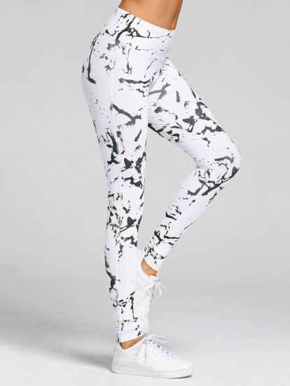 White Fashion Elastic Printed Sports Leggings for Women