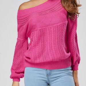 Casual Solid Fall Winter Hollow Fashion Womens Sweater