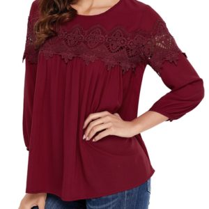 Fall Spring Lace Solid Fashion Scoop Neck Womens Blouse