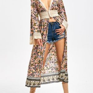 Casual Fall Spring Cotton Lace Floral Womens Cardigans
