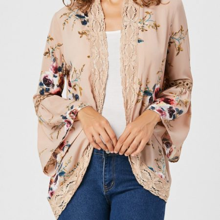 Fashion Apricot Lace Floral Womens Cardigan