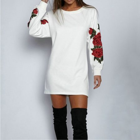 Fashion Cotton Long Elastic Floral Sweatshirt for Womens