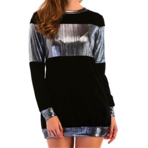 Casual Solid Elastic Sequined Womens T-Shirt