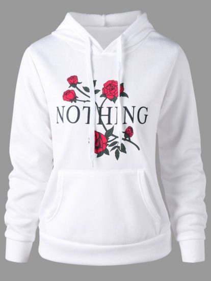 Fall Spring Casual Floral Printed Female Hoodie