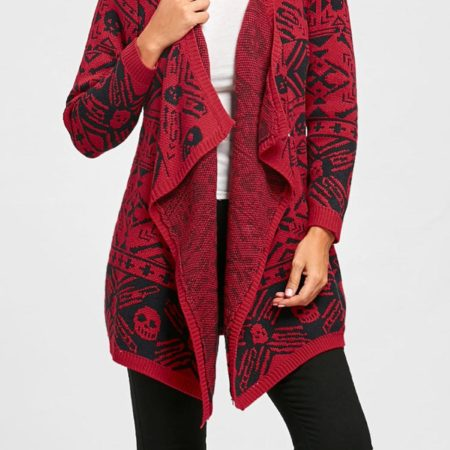 Fashionable Collarless Long Red Womens Cardigan