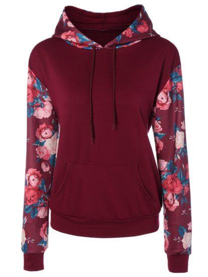 Casual Cotton Fall Spring Flowers Hoodie for Women