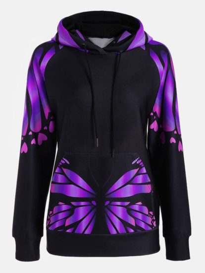 Fashion Printed Butterfly Design Womens Hoodie