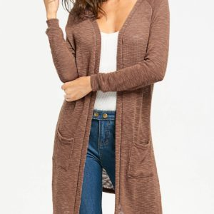 Fashion Solid Collarless Fall Spring Long Cadigan for Women