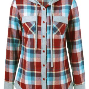 Casual Fall Spring Plaid Hoodie for Women