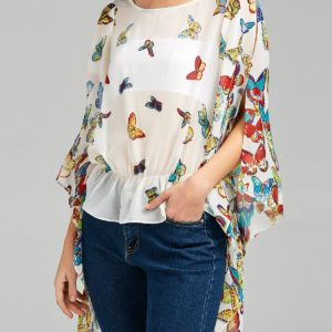 White Butterfly Printed Evening Party Summer Womens Blouse