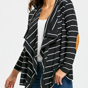Casual Collarless Colormix Striped Womens Cardigan