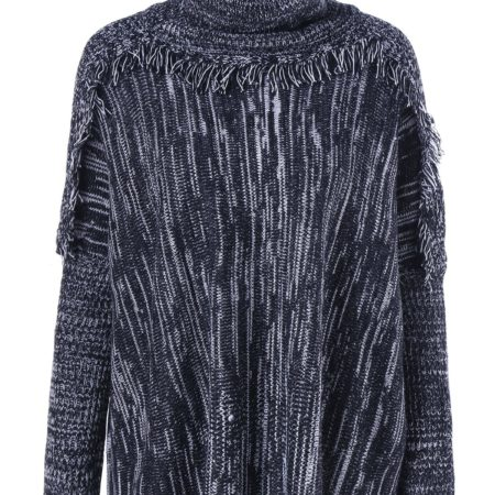 Fall Winter Fashion Blue Fringe Pullover Sweater for Ladies