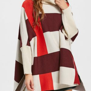 Trendy Fall Winter Colormix Turtleneck Plaid Womens Sweater
