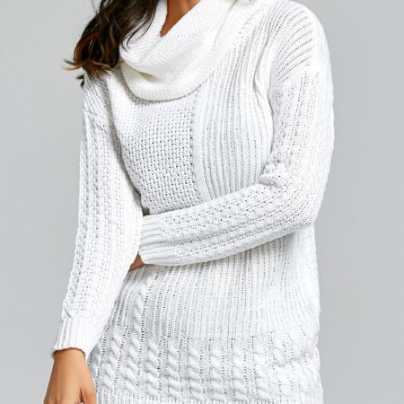 Fall Spring Trendy White Womens Turtleneck Sweater