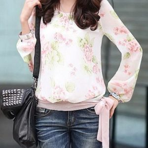 Casual Printed Floral Womens Blouse Shirts