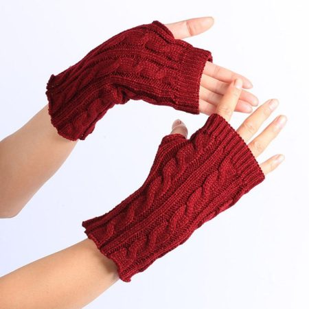 Red Fashion Womens Knitted Fingerless Gloves