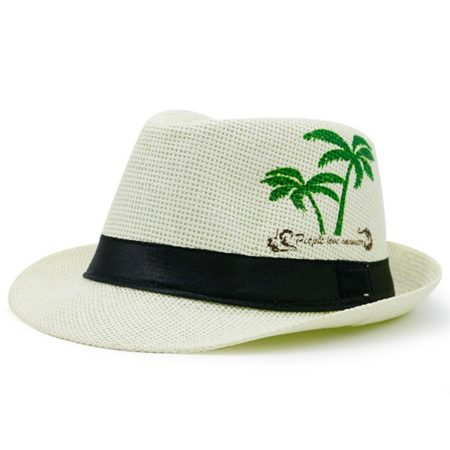 White Summer Printed Hat