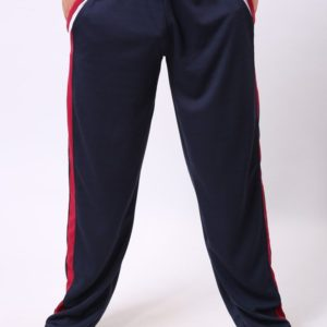 Blue Striped Cotton Solid Activewear Sports Pants