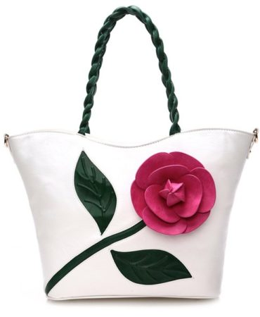 White Pu Leather Flowers Shoulder Bag for Women
