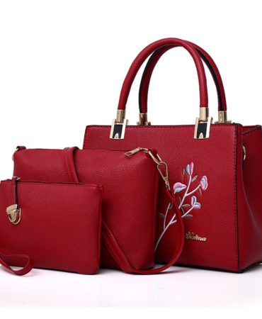 Red Ladies Crossbody Messenger Handbags Set