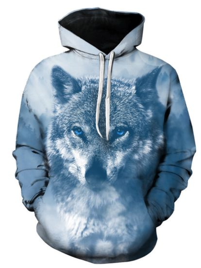 Fashion Cotton Animal Wolf 3D Print Hoodie