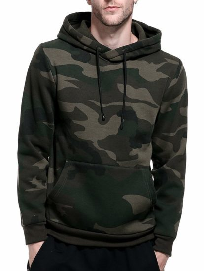 Casual Streetwear Camouflage Pullover Hoodie for Mens