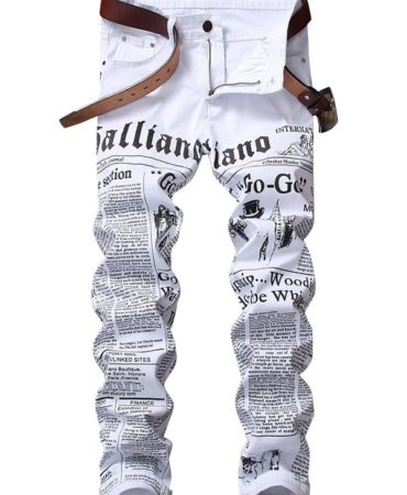 White Cotton Print Pants for Men