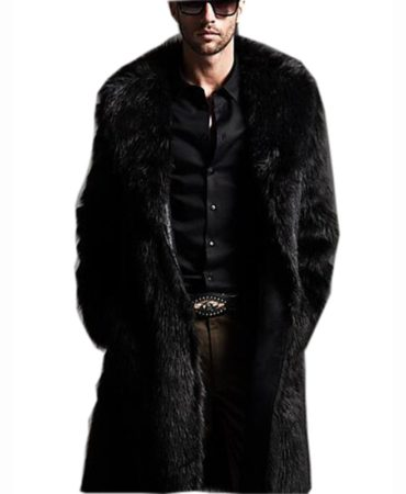 Fashion Casual Fur Solid Long Mens Winter Coat