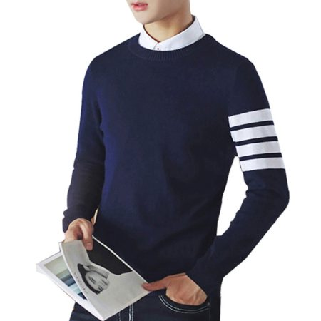 Casual Cotton Round Collar Mens Pullover