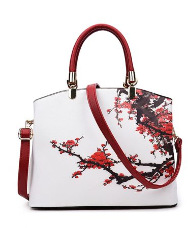 Fashion Pu Leather Printed Floral Tote Shoulder Bag