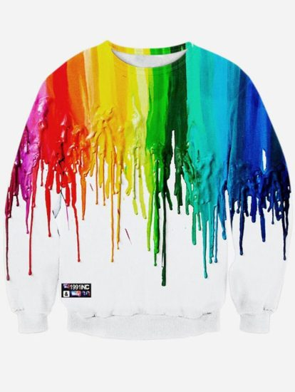 Casual Paint Design Print Pullover Sweatshirt