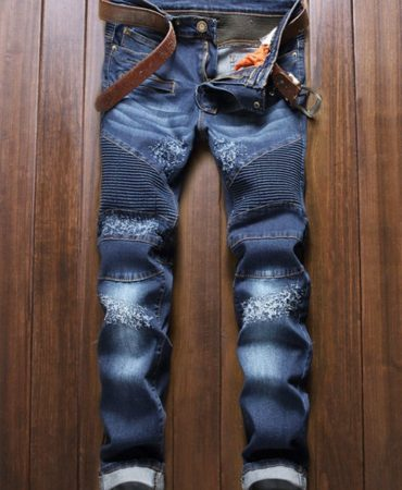 Blue Cotton Denim Biker Jeans Pants