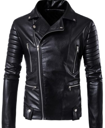Black Pu Leather Motorbike Mens Jacket