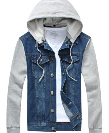 Casual Detachable Hood Cotton Jeans Jacket