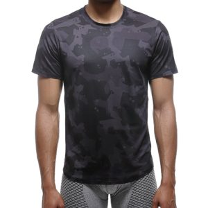 Black Breathable Quick Drying Elastic Sports T-Shirt