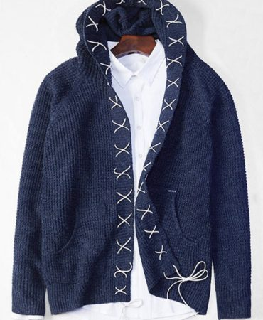 Blue Casual Hooded Cardigan