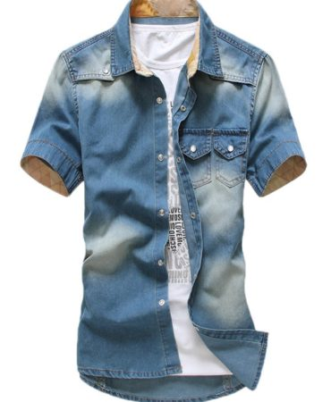 Short Sleeve Jeans Denim Mens Shirt
