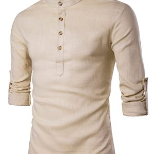 Cotton Casual Trendy Stand Collar Mens Shirt