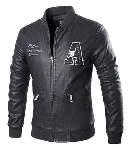Fashion Black Fall Winter Pu Leather Mens Jacket
