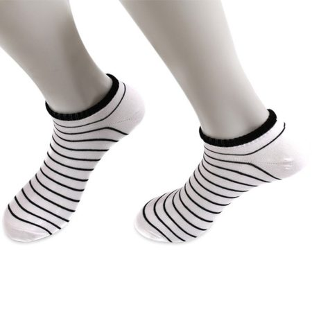 Striped Casual Unisex White Socks