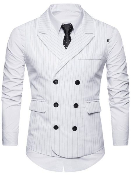 Cotton Fashion Sriped Formal Mens Waistcoat